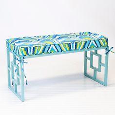 Worlds Away Charleston Turquoise Bench with Peacock Cushion @Layla Grayce