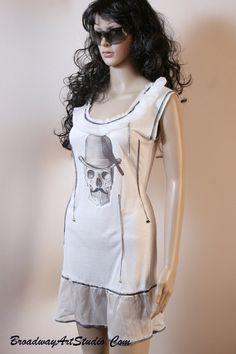 "One of a kind, handmade, ""Crow"" mini-dress by BroadwayArtStudio on Etsy"