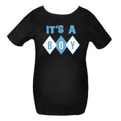 It's A Boy Maternity Shirt has blue retro diamond design. $41.99 www.milestonesmaternity.com  #maternity #babyboy