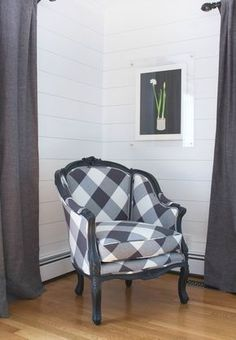 Vintage chair painted and reupholstered in oversized buffalo check fabric on the diagonal - love!