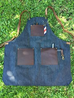 Selvage denim and leather barber apron Barber Apron, Old Jeans, Leather Working, Barber Shop, Mens Fashion, Barbershop Ideas, Fashion Design, Shopping, Hairstyles