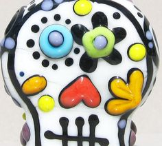 Sugar SkullHandmade Lampwork Glass Bead by BeadygirlBeads on Etsy