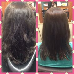 Before and after split end treatment
