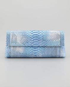 Python Back-Pocket Clutch Bag, Blue by Nancy Gonzalez at Neiman Marcus.
