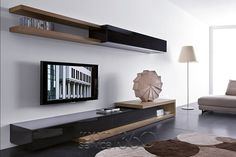 living room tv wall unit designs Modern Living Room with Slim Wall Mounted TV Unit Design Dream Wall Unit Designs, Tv Unit Design, Wall Design, Tv Furniture, Living Room Furniture, Cabinet Furniture, Furniture Ideas, Modern Furniture, Library Furniture