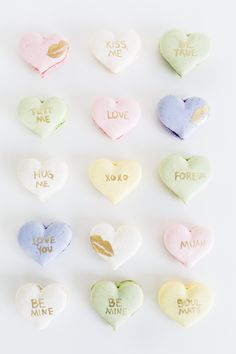 Adorable DIY conversation heart macarons From @Sugar & Cloth. #hearts #macarons #valentine