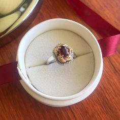 Rose inspired engagement ring in white gold with rose gold petals and oval ruby center stone surrounded by diamond halo Ruby Rose, Rose Gold, Halo Diamond, Sapphire, White Gold, Engagement Rings, Inspired, Stone, Jewelry