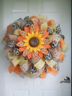 Fall Orange Leopard Sunflower Mesh and Burlap Wreath with Chevron and Polka Dot Burlap Ribbon by TowerDoorDecor, $65.00
