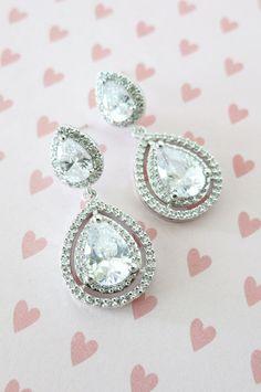 Deluxe Cubic Zirconia Teardrop Earrings, Swarovski Teardrop Crystal, Bridesmaid Earrings, Wedding Bridal Earrings