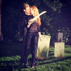 More intensive training in the cemetery.. Clary (Katherne McNamara) and Jace (Dominic Sherwood) ShadowHunters
