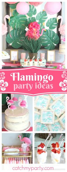 Take a look at this Tropical Flamingo ladies night! The backdrop is fantastic!! See more party ideas and share yours at CatchMyParty.com