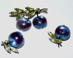 Austria Double Purple Cherry Brooch/pin Austrian Crystal Fruit  & Earrings