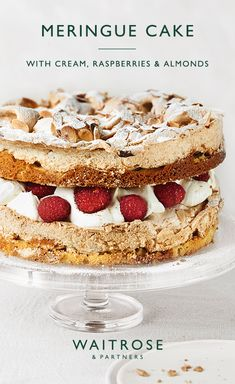 Fresh whipped cream and raspberries sandwiched between layers of crisp and chewy meringue. Scatter with flaked almonds and a dusting of icing sugar for a crunchy finish. Tap for the full Waitrose & Partners recipe. Meringue Desserts, Meringue Cake, Köstliche Desserts, Delicious Desserts, Almond Meringue Recipe, Raspberry Meringue, Meringue Food, Plated Desserts, Gourmet Recipes