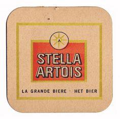 old school Stella coaster Stella Artois Beer, Beer Of The Month, Sous Bock, Beer Mats, Beers Of The World, Beer Coasters, Letterpress Printing, Beer Labels, Bottle Caps