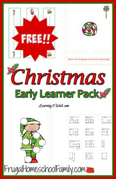 Free Christmas printable pack that is perfect for preschoolers! Contains over 20 pages of tracing practice, color by number, playdough mats, do-a-dot pages, and MORE!