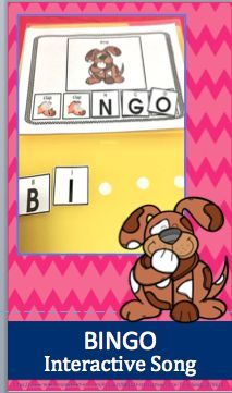 BINGO This is a favorite children's rhyme. I love the interactive part of this song as you clap along. A bonus is that you are also helping students recognize letters. I use this rhyme for a variety of students from students ♥ Preschool, kindergarten, a Circle Time Songs, Circle Time Activities, Speech Activities, Preschool Lessons, Preschool Kindergarten, Preschool Ideas, English Language Learners, Language Arts, Rhymes For Kids