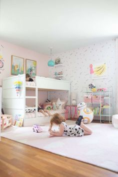 The Friday Happy List 6 23 - Lay Baby Lay It's Friday, yay! (find the links for this room here.) And it's officially summer, too. Kids Bedroom Designs, Kids Room Design, Bedroom Ideas, Bedroom Decor, Playroom Decor, Bedroom Lighting, Ikea Kura Bed, Little Girl Rooms, Girls Bedroom
