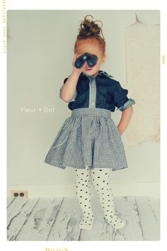 The Black Gingham Extra Full Skirt with Sash from the Fleur + Dot Autumn Winter 12 Collection - Fleur and Dot