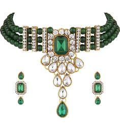 Heavy looking dark green kundan choker set