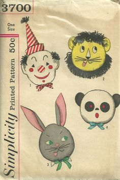 Simplicity 3700 1960s Set of Fun Pillows Pattern Clown, Lion, Bunny Rabbit and Panda Bear Vintage Craft Sewing Pattern by patterngate.com
