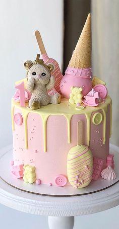 1st Birthday Cakes For Girls, Cake For Baby Girl, Best Birthday Cake Designs, First Birthday Cupcakes, Pretty Birthday Cakes, Baby Cake Design, Baby Shower Cake Designs, Cake Designs For Kids, Anime Cake
