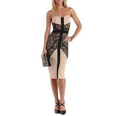 Strappy Lace-Trim Bodycon Dress