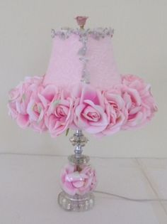 Gilbert Designs Pink Lamp with Pink Roses