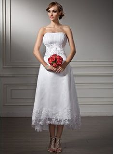 A-Line/Princess Sweetheart Asymmetrical Organza Satin Wedding Dress With Lace Beading Sequins