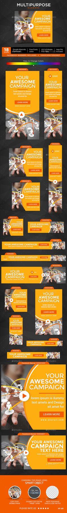 Multipurpose Banners Template #bannerdesign #webbanners Download: http://graphicriver.net/item/multipurpose-banners/12800651?ref=ksioks