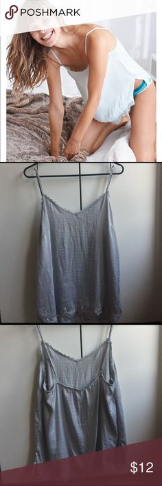 Shine Lace Cami From Aerie by American Eagle Shine Lace Cami from Aerie by American Eagle. Size L. Shirt is grey! Brand New- never been Worn! American Eagle Outfitters Tops Camisoles