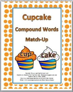 FREE ... Cupcake Compound Words Matching Activity  or Concentration Game