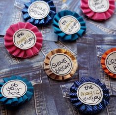 These lovely rosettes are a perfect mini reminder to any young entrepreneur to keep going, do your best and shine bright! Rosettes, Desserts, Entrepreneur, Kids, Messages, Color, School, Tailgate Desserts, Young Children