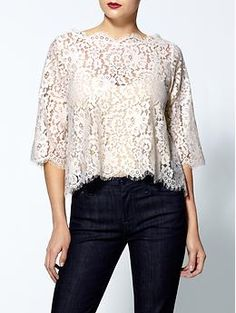 Joie Elvia Scalloped Lace Blouse 75