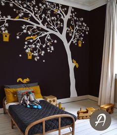 Weiß Baum Wand Aufkleber große Wand Aufkleber von TheAmeliaDesigns
