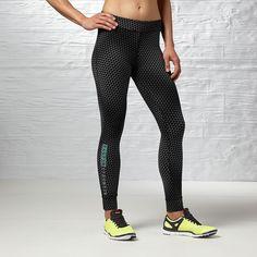 Reebok ONE Series Tight ($65) ❤ liked on Polyvore featuring activewear, activewear pants, apparel, reebok sportswear, logo sportswear, reebok activewear and reebok