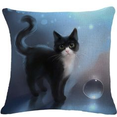 Cat Cushion Cover 3D Effect Cushion Cotton Linen Decorative Pillow.