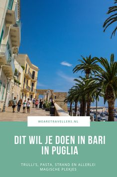 Dit is waarom je naar Bari in Italië wilt: Trulli's, pasta, strand en meer Bari Italy, Italy Travel Tips, Road Trip, Country, City, Wanderlust, Rural Area, Road Trips, Cities
