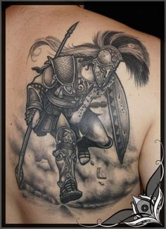 Ares is the god of war. Depicted with an armor, an helmet and spear, he symbolizes virility, strength, courage, youth and aggressivity. He can be mistaken with Spartan warriors. Piece by Lilz.