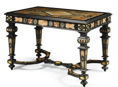 An Italian marble and pietre dure inlaid ebonised and parcel-gilt centre table, Florentine<br>last quarter 19th century | Lot | Sotheby's