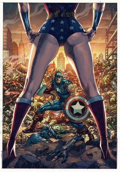 Wonder Woman vs Marvel artwork by Arf. Wonder Woman is going down! - visit to grab an unforgettable cool Super Hero T-Shirt! Comic Book Heroes, Comic Books Art, Comic Art, Comic Pics, Book Art, Marvel Dc Comics, Marvel Heroes, Superman, Cartoon Mom