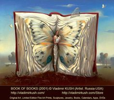 Book of Books (2001) © Atlas of Wander © Vladimir KUSH (Artist, Russia - Hawaii, USA). Surreal Art. Prints available. An open book shows a butterfly mother cradling her child. Books give birth to new ideas? -pfb ... Artist Shop:  http://vladimirkush.com/Store  Original Art, Limited Edition Fine Art Prints, Sculptures, Jewelry, Books, Calendars, Apps, DVDs