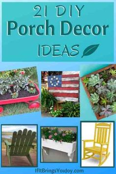 21 easy DIY ideas for your porch or deck. Tutorials for how to make furniture, planters, and other outdoor porch decor. DIY projects on a budget. #DIYprojects Diy Projects On A Budget, Cool Diy Projects, Home Projects, Diy Furniture Decor, Porch Furniture, Family Fun Night, Diy Porch, Porch Decorating, Outdoor Ideas