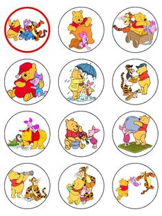 winnie the pooh printable cupcake topper, bottlecap by vickie