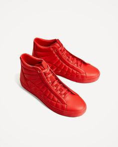 Image 1 of RED HIGH-TOP SNEAKERS from Zara