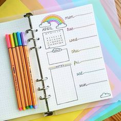 Bullet journal weekly layout, one paged bullet journal weekly layout, rainbow drawing, cursive daily headers, rainbow bullet journal theme, weekly goals, weekly notes. | @marthasjournal