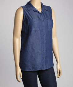Another great find on #zulily! Denim Sleeveless Button-Up - Plus by Simply Irresistible #zulilyfinds