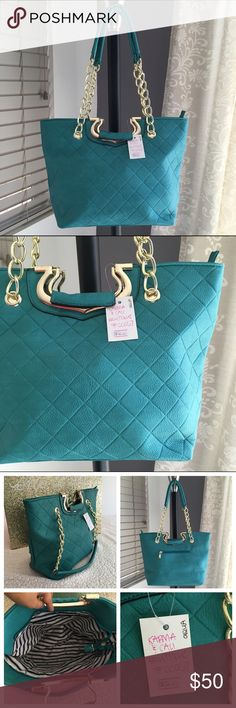 "❗️5HRSALE❗️🆕 Aqua Admirer handbag 👜 🔥Brand New Boutique Item (handbag)  ONLY 1 of this color and style available!👜 -Brand: sold by Karma&Cali (retails for $90) -Color: aqua/teal-ish blue with gold hardware  -Dimensions: 14"" length, 10.5"" height, 5"" width -Details: back pocket, interior pocket, two interior pouches, zipper closure, quilted design & can be carried w/short handles -Other: creases iron out with use, lighting varies color/open to  •good o f f e r s• using Posh's offer button…"