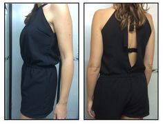 Mono negro - black jumpsuit black romper DIY. Patrón y video tutorial: http://www.yoelijocoser.com/2015/06/patron-gratis-mono-enterito-romper-con-video.html?m=1 Handmade by @Martexu