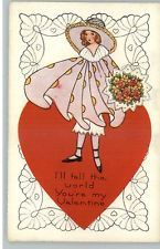 Art Deco Valentine - Pretty Little Girl in Dress c1910 Postcard