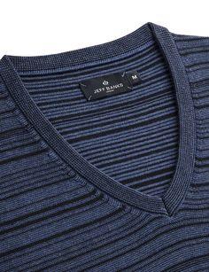 284312cb782b Jeff Banks Blue Reverse Stripe V Neck Knit Jumper Commercial Design, Mock  Neck, V